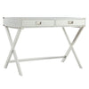 X-Base Wood Accent Campaign Writing Desk - White