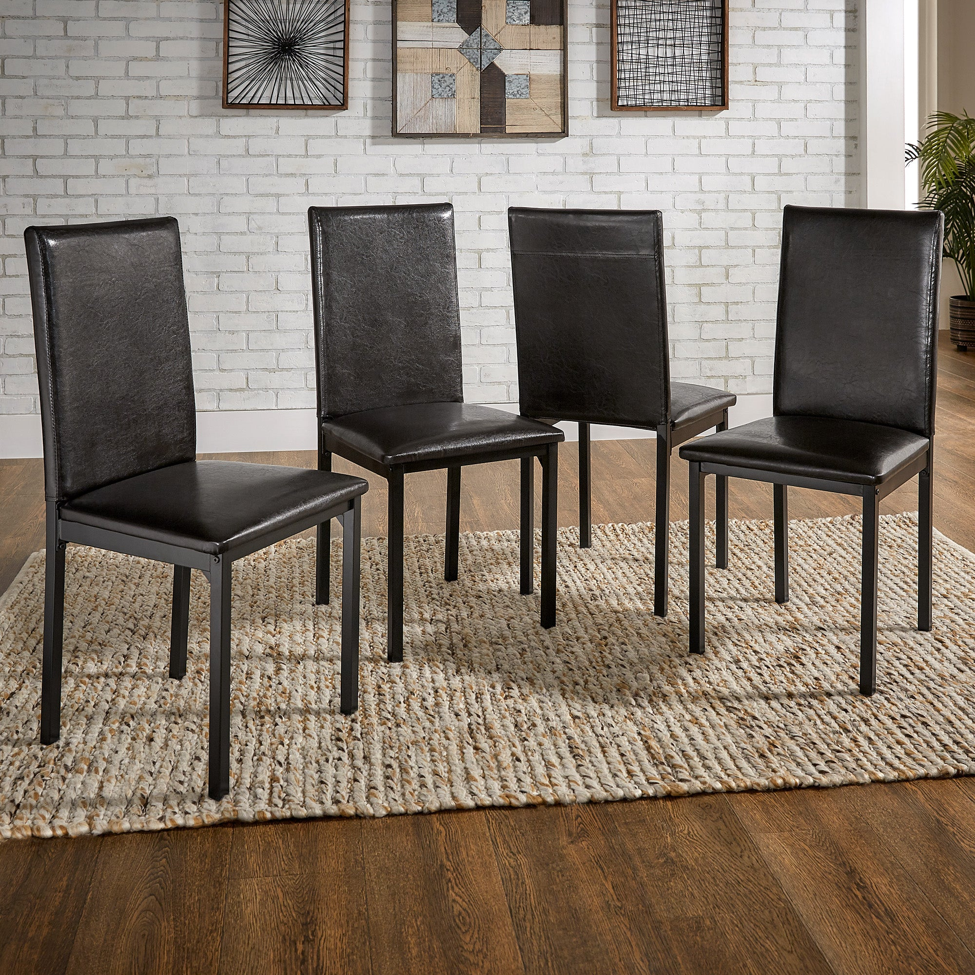 Metal Upholstered Dark Brown PU Dining Chair (Set of 4)