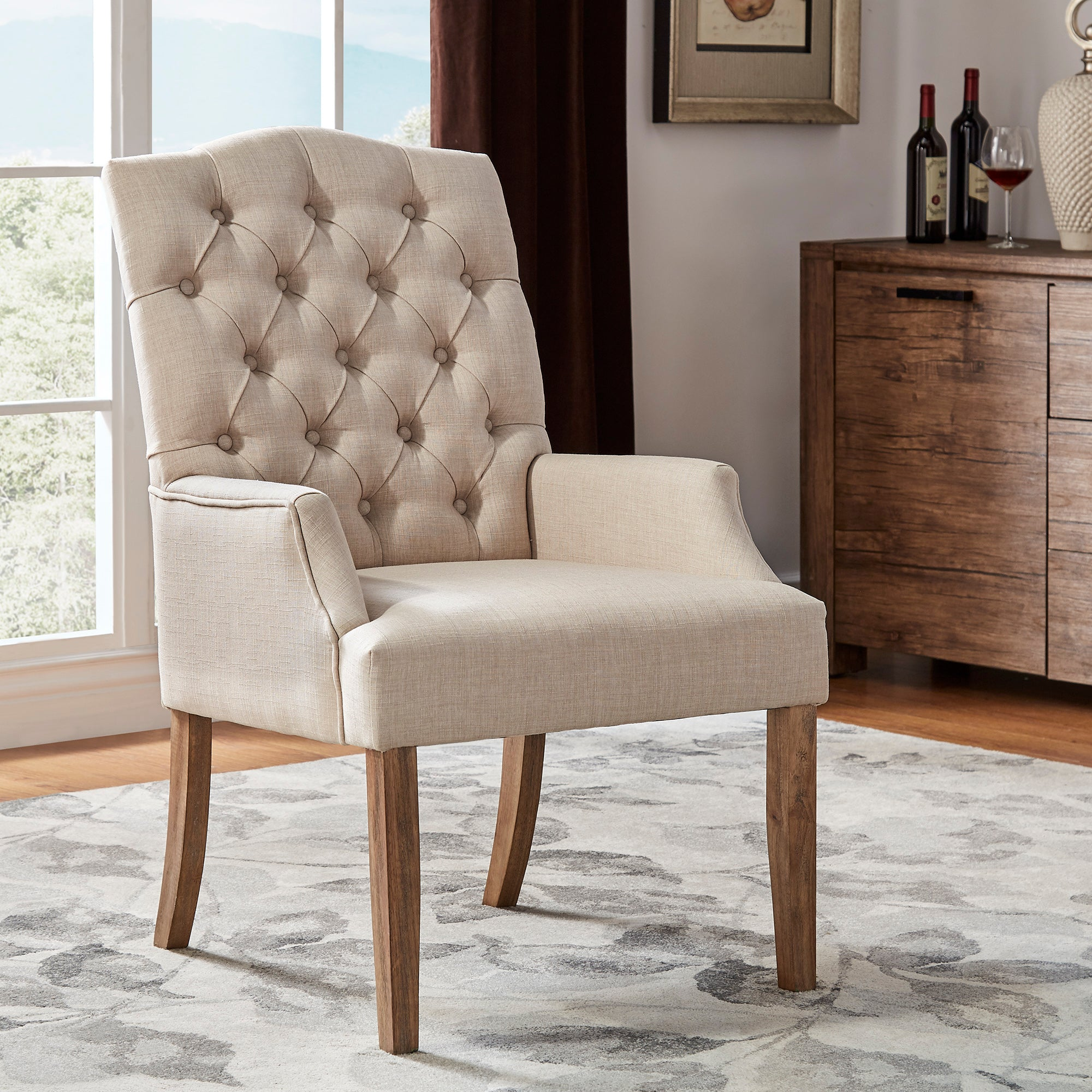 Light Distressed Natural Finish Linen Tufted Dining Chair