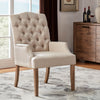 Beige Light Distressed Natural Finish Linen Tufted Dining Chair