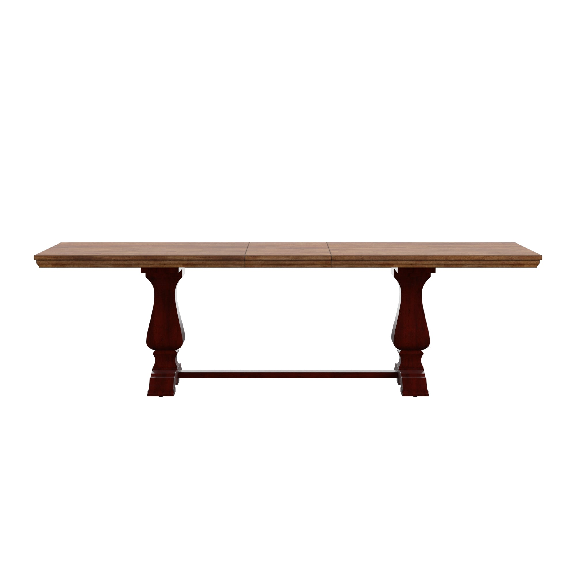 Oak Finish Top 86-104-inch Dining Table with Leaf - Antique Red