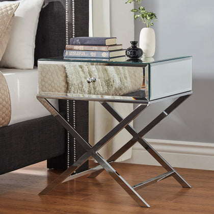 X-Base Mirrored Accent Campaign Table - Chrome