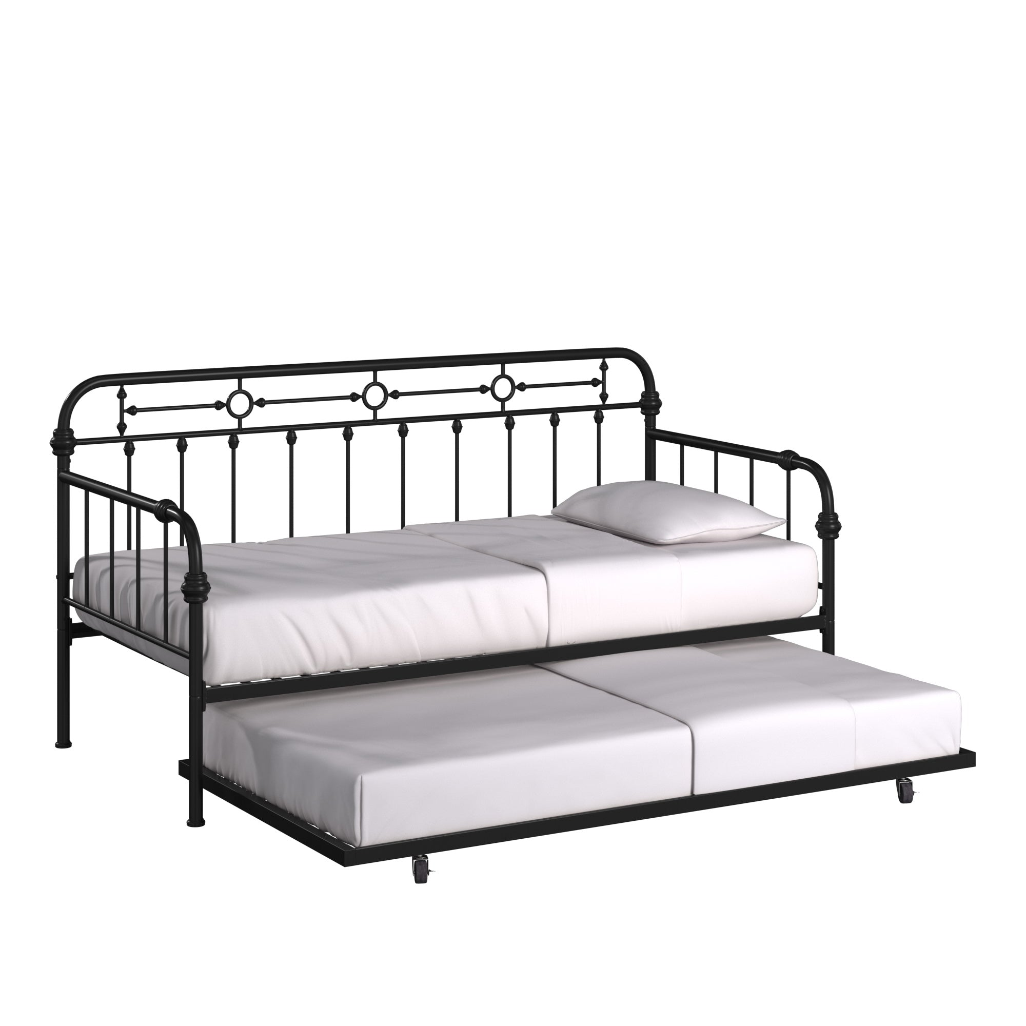 Antique Dark Bronze Metal Twin Size Daybed with Trundle Bed