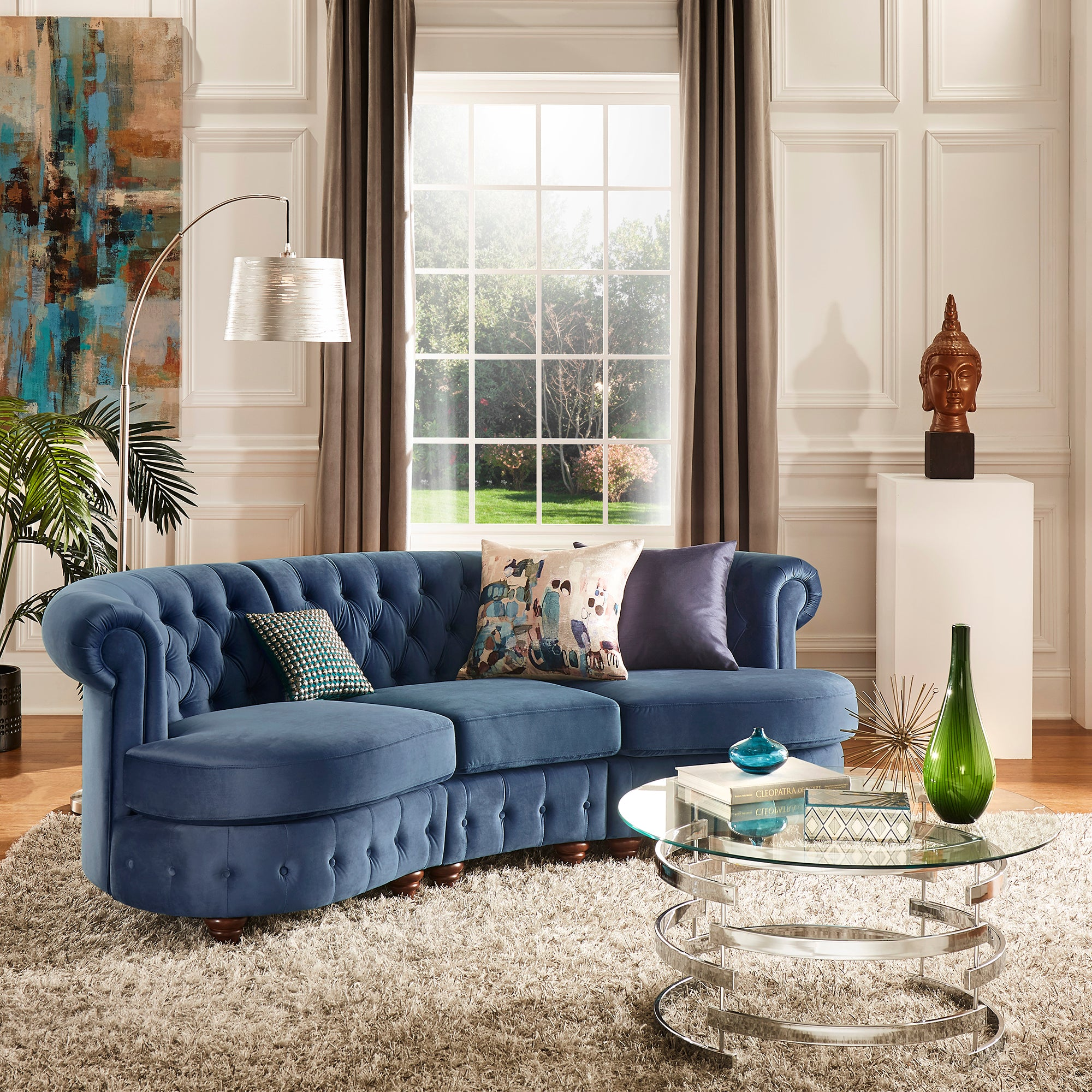 Velvet Tufted Scroll Arm Chesterfield Curved Sofa - Blue