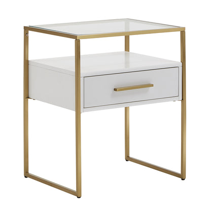 Modern White and Gold Metal End Table