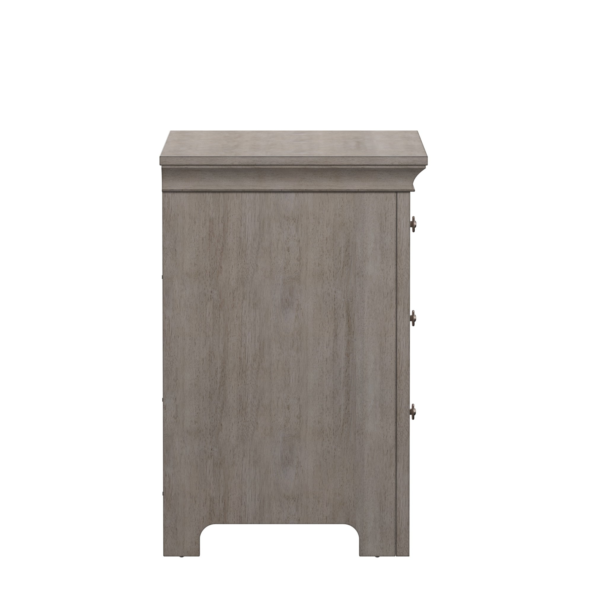 3-drawer Wood Modular Storage Nightstand with Charging Station - Off-White