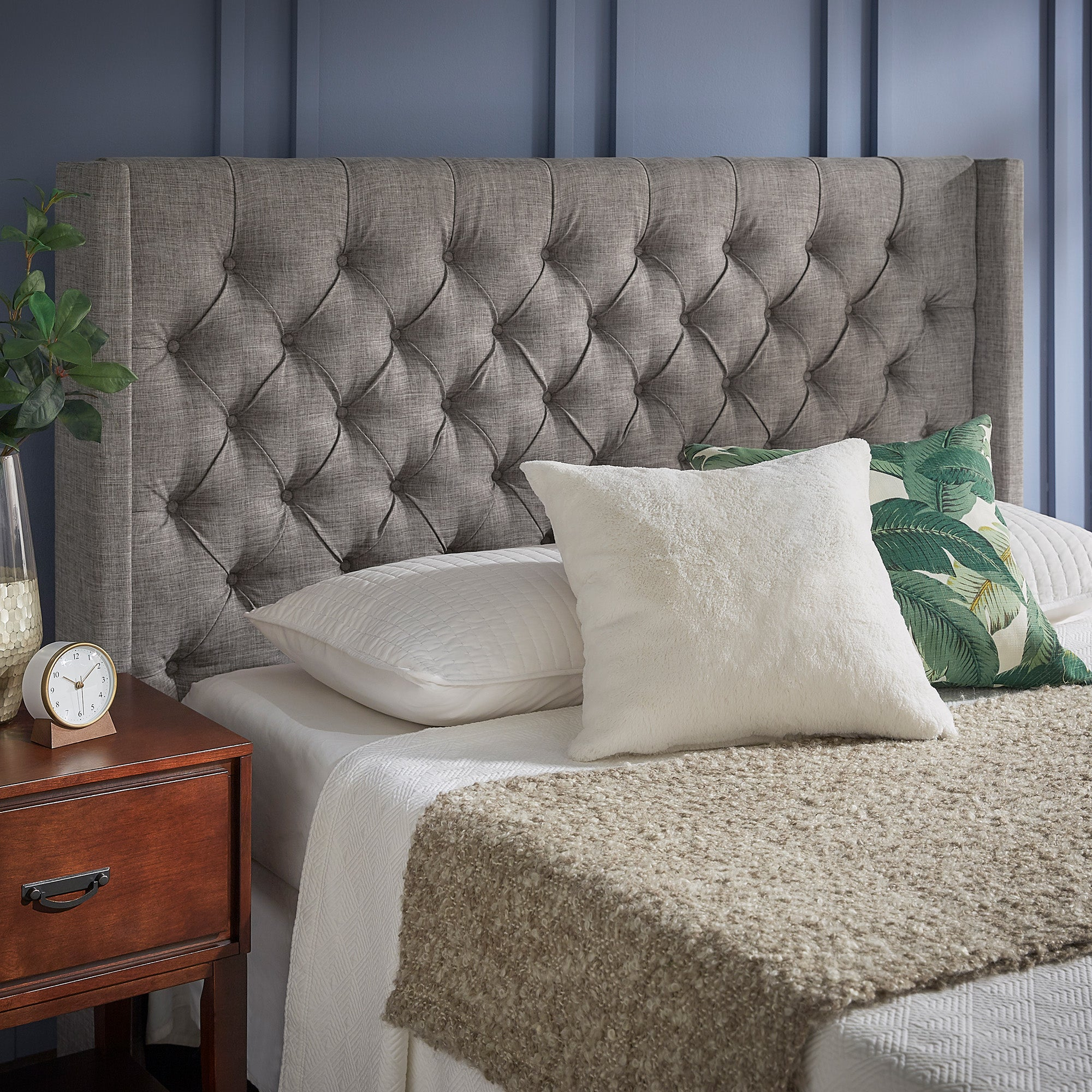 Wingback Button Tufted Linen Fabric Headboard - Grey, Queen Size