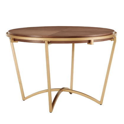 Natural Finish Dining Table With Gold Metal Base