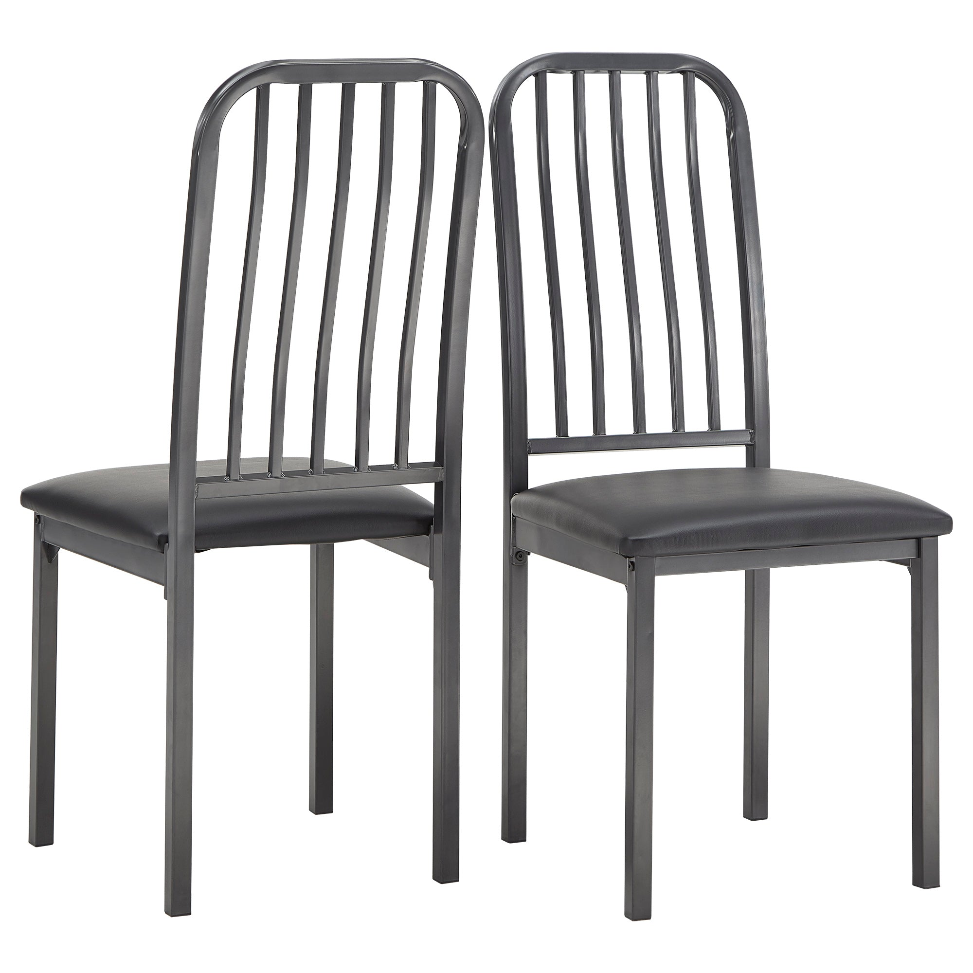 Metal and Leather Dining Chairs (Set of 2)