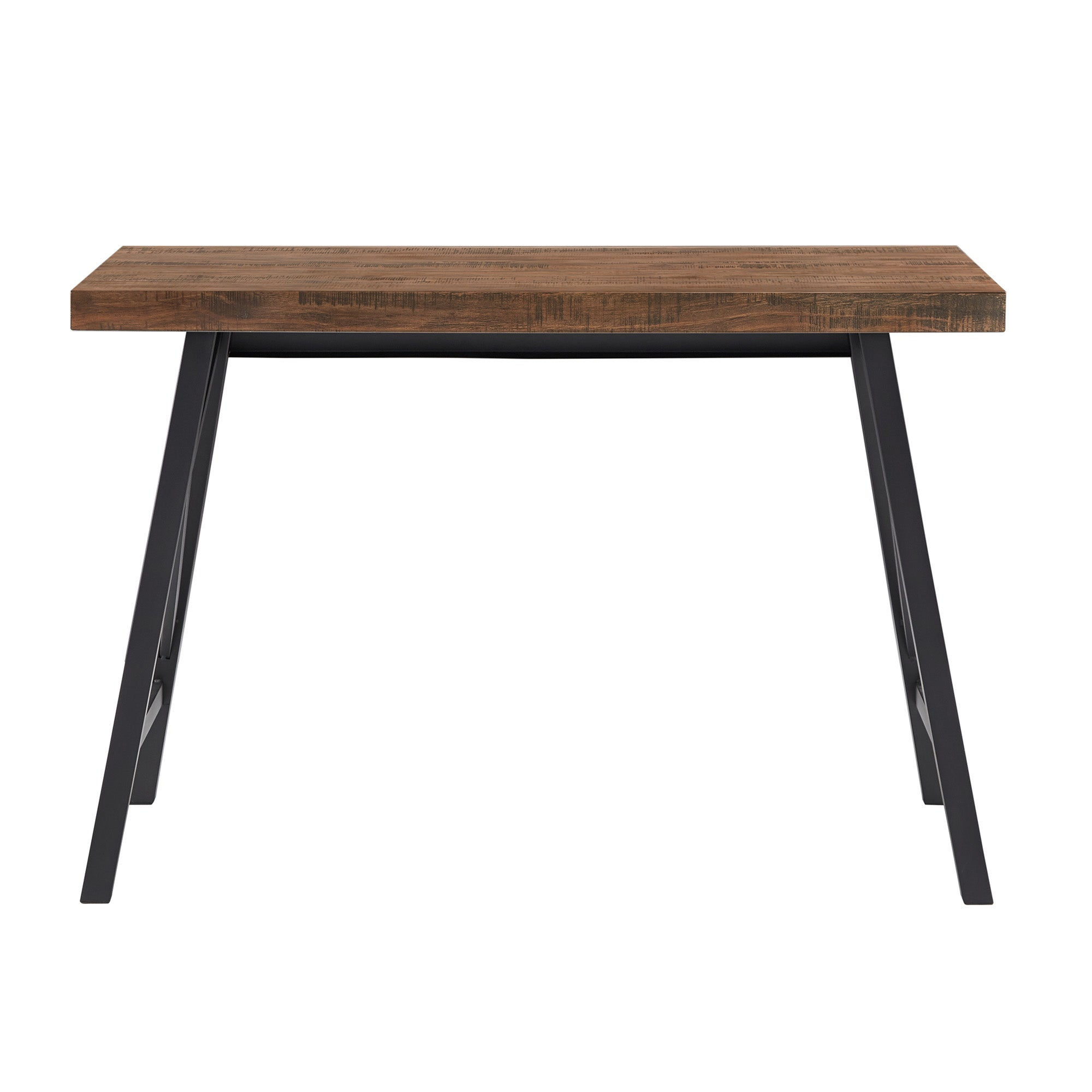 Rustic X-Base Desk - Brown Finish