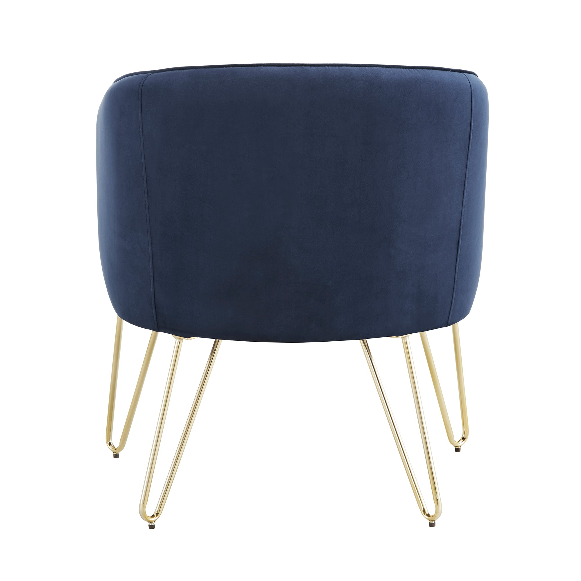 Blue Velvet With Gold Finish Accent Chair