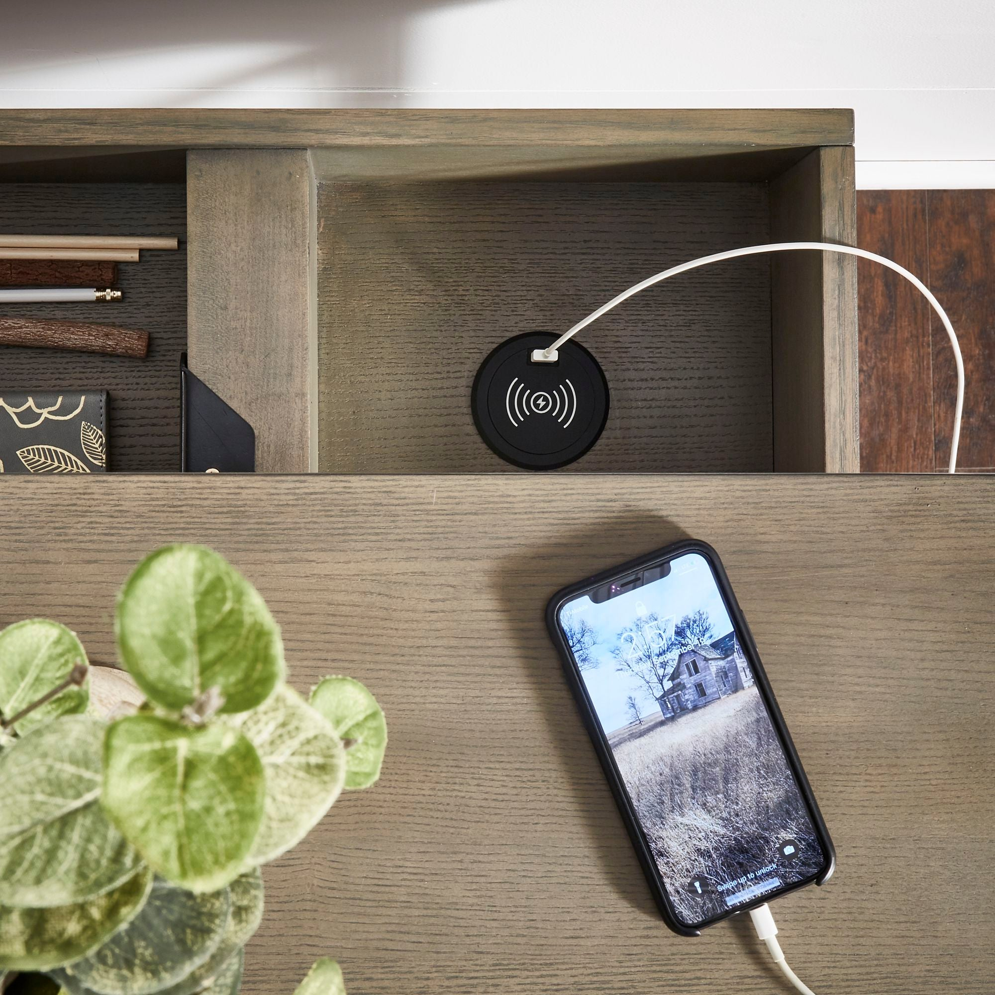 Lift top desk with one USB charging port and wireless charging station - Grey