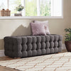 Linen Fabric Tufted Bench - Dark Grey
