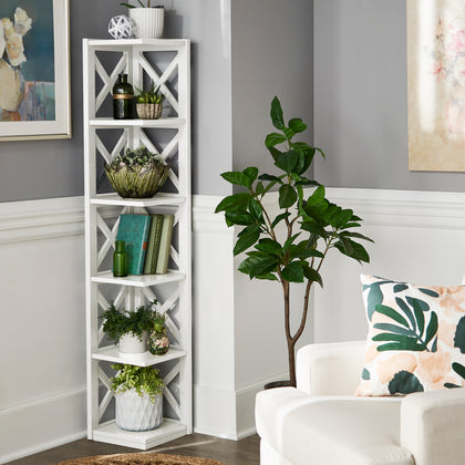 X-Frame 5-Shelf Bookcase - White