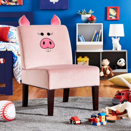 Velvet Animal Accent Chair - Pig