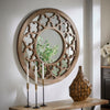 Reclaimed Wood Quatrefoil Cutout Round Wall Mirror