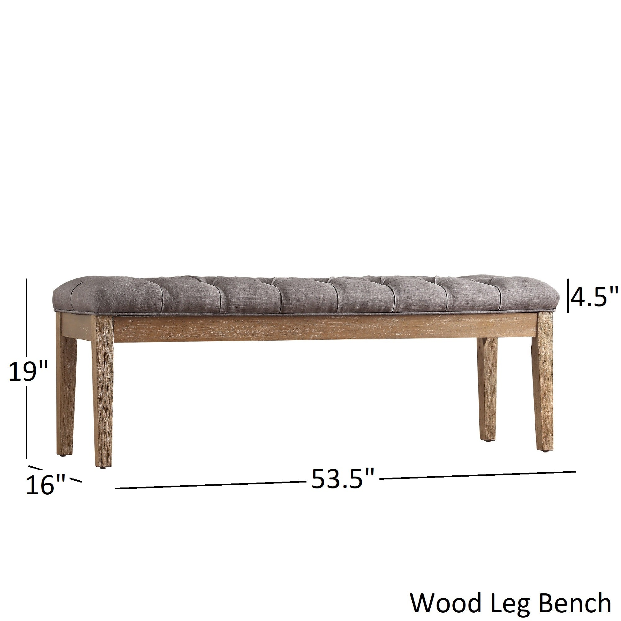 Premium Tufted Reclaimed 52-inch Upholstered Bench - Grey