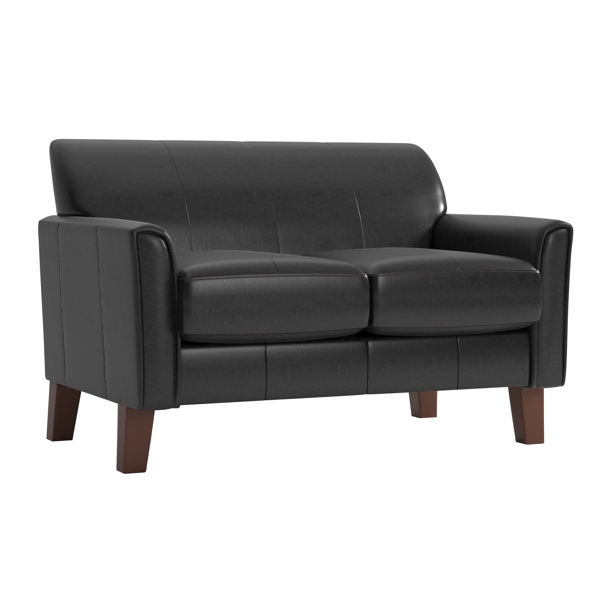 Modern Loveseat - Dark Brown Faux Leather, Cherry Finish