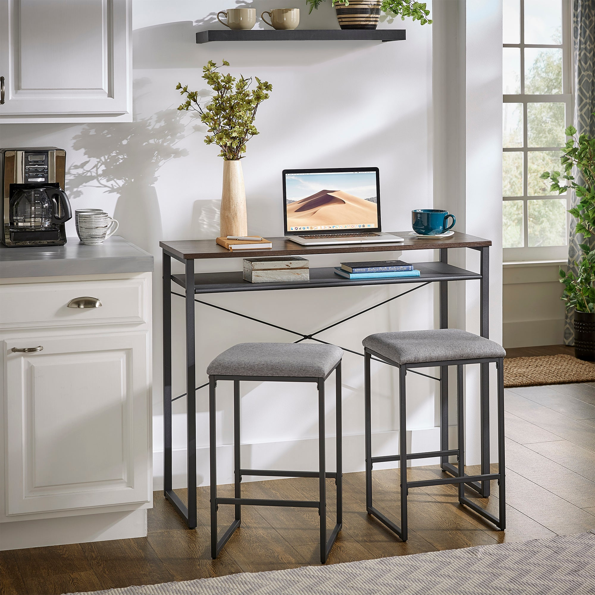Metal and Wood 3-Piece Counter Height Set