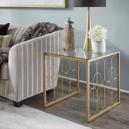 Octagon Pattern Gold Metal and Glass Table - End Table