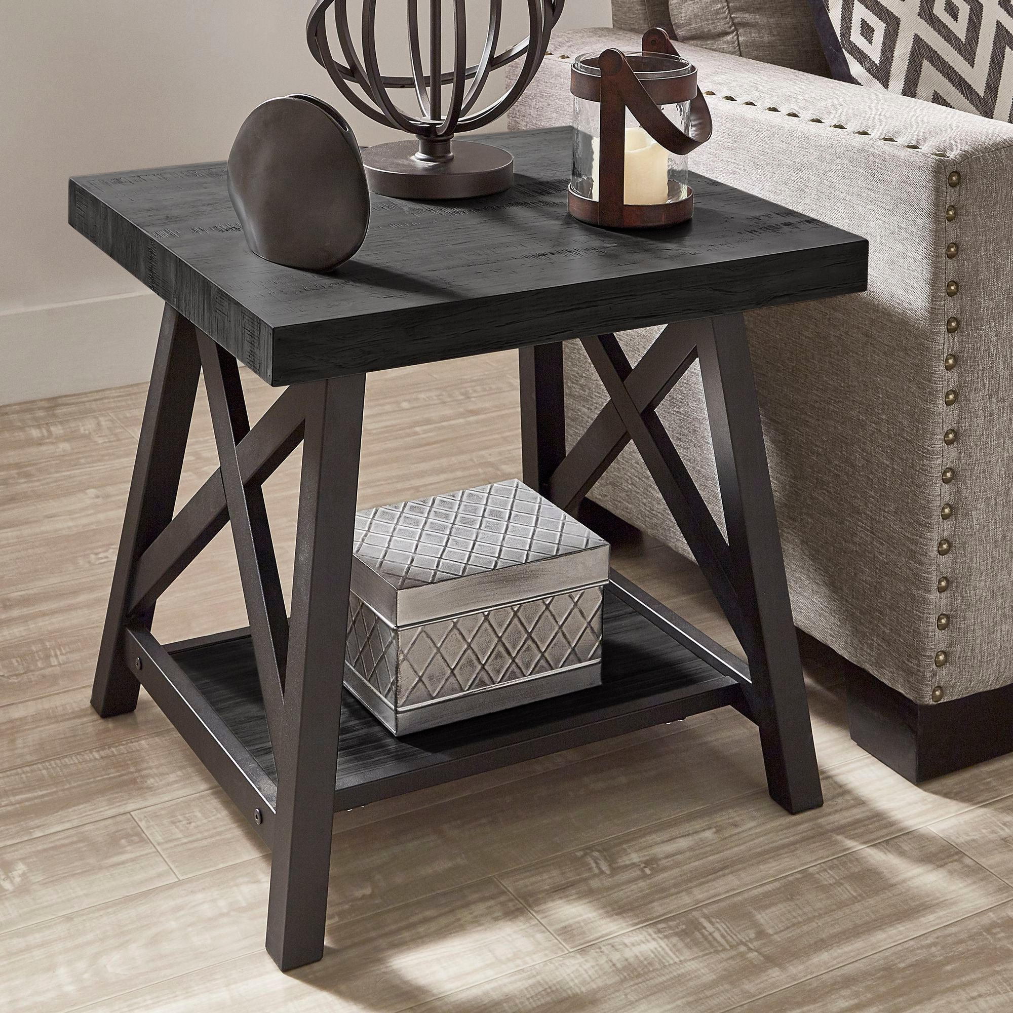 Rustic X-Base End Table with Shelf - Black Finish