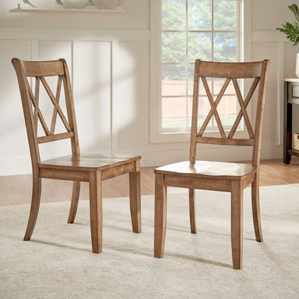 Oak Finish With Double X Back Wood Dining Chair (Set of 2)