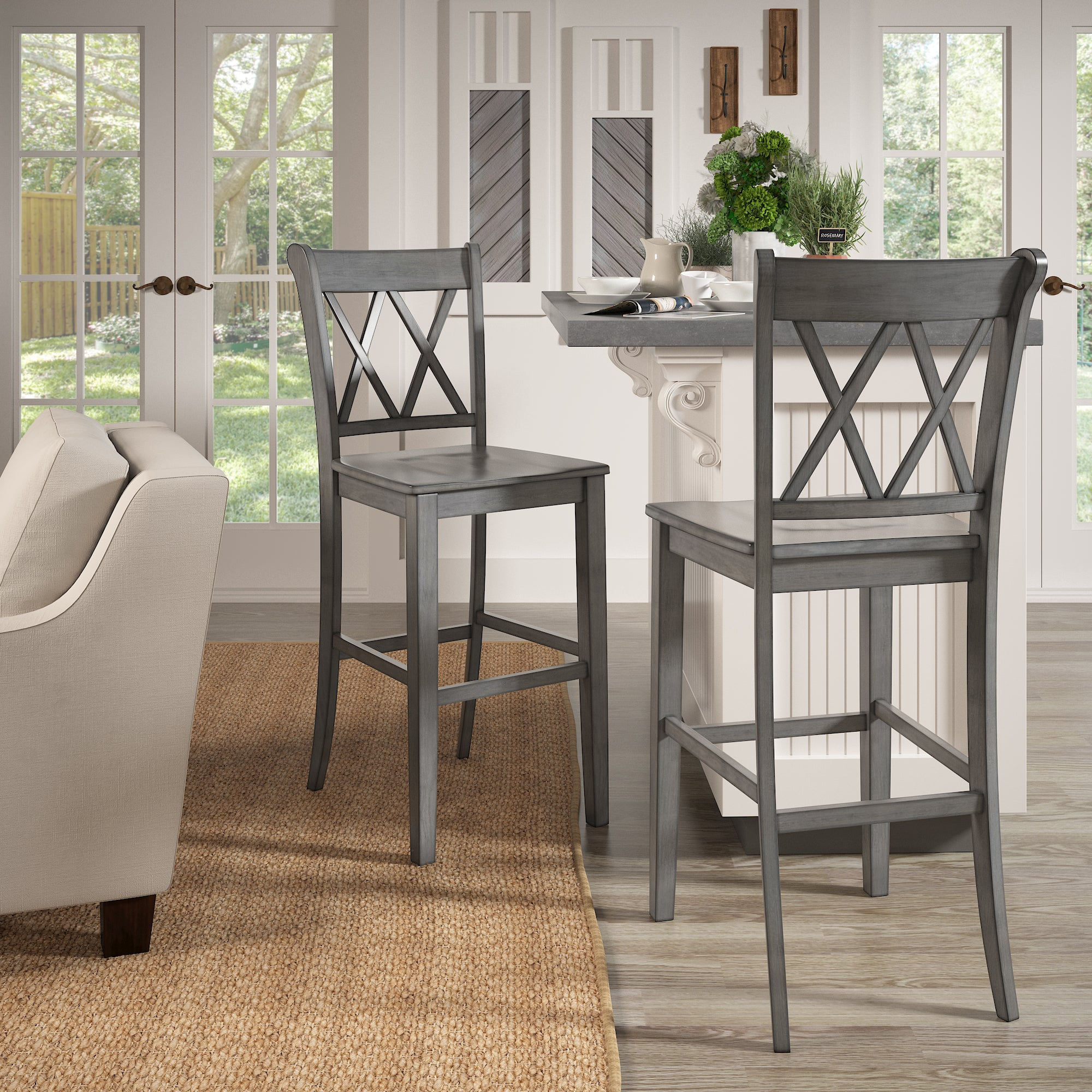 Double X Back Bar Height Chairs (Set of 2) - Antique Grey Finish
