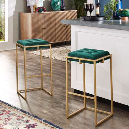 Gold Finish Velvet Button Tufted Bar Stools (Set of 2) - Bar Height - Dark Green