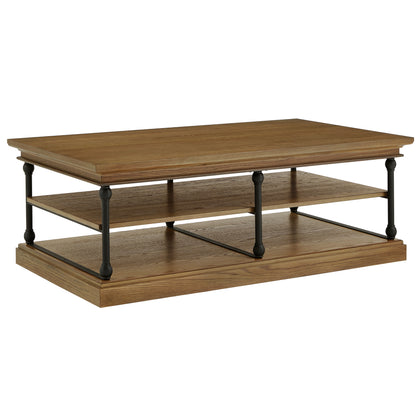 Brown Cornice Rectangle Storage Shelf Coffee Table