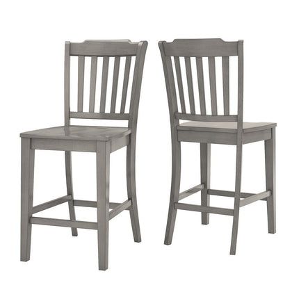Slat Back Wood Counter Height Chair (Set of 2) - Antique Grey