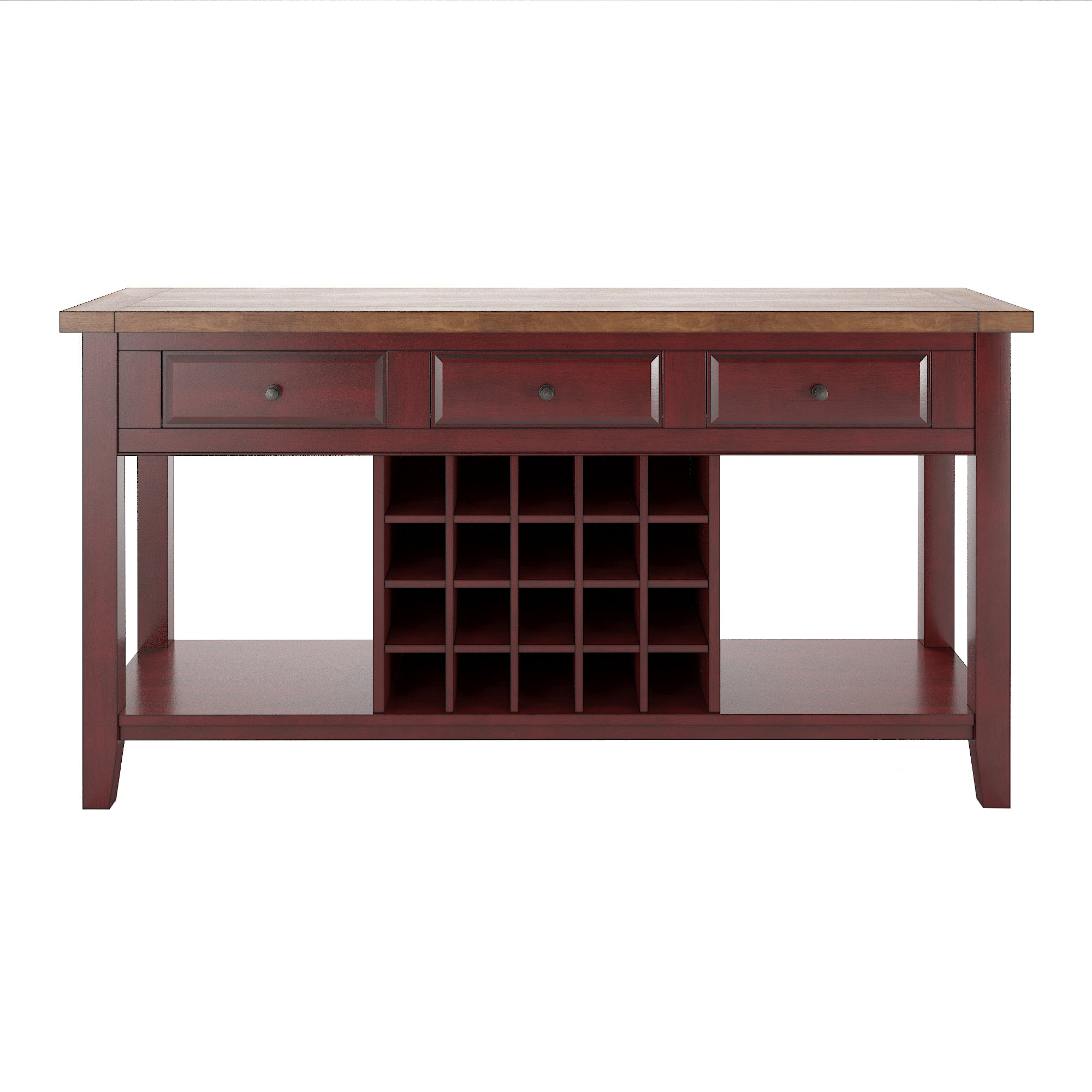 Two-Tone Wood Wine Rack Buffet Server - Oak top with antique berry base finish