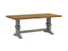 Two-Tone Rectangular Solid Wood Top Dining Table - Oak Top with Antique Grey Base
