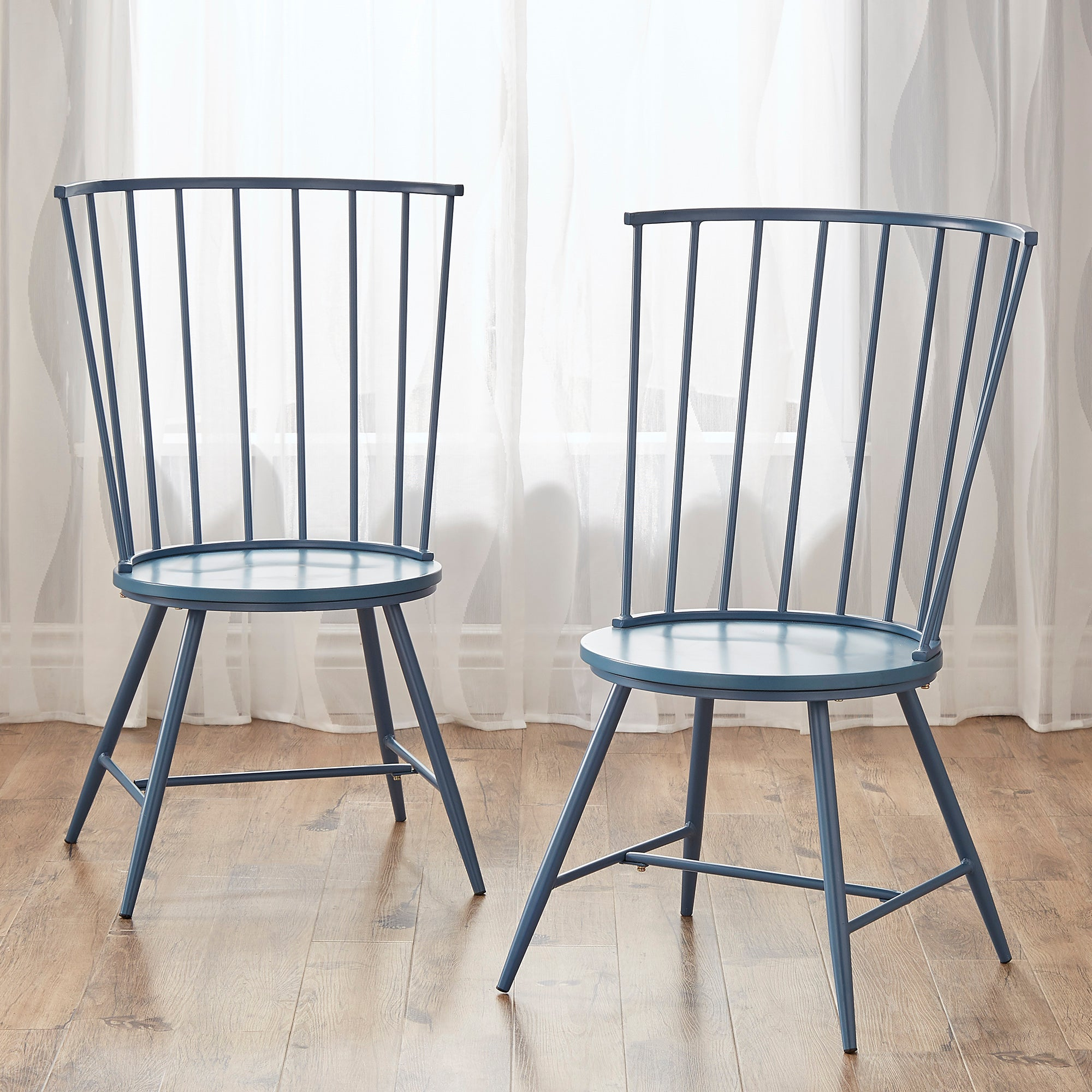 High Back Windsor Classic Dining Chairs (Set of 2) - Blue Steel