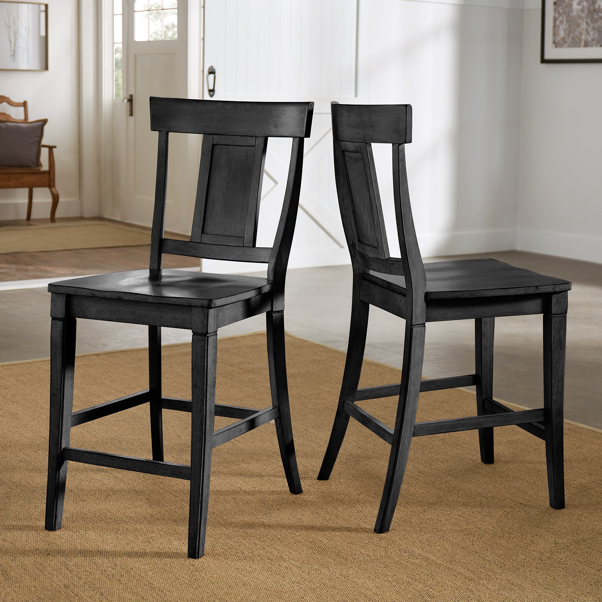 Panel Back Wood Counter Height Chair (Set of 2) - Antique Black