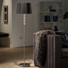 Chrome Finish Black Shade 1-light Floor Lamp