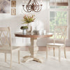 Two-Tone Round Solid Wood Top Dining Table - Oak Top with Antique White Base Color Finish