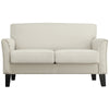 Modern Loveseat - White Linen, Espresso Finish