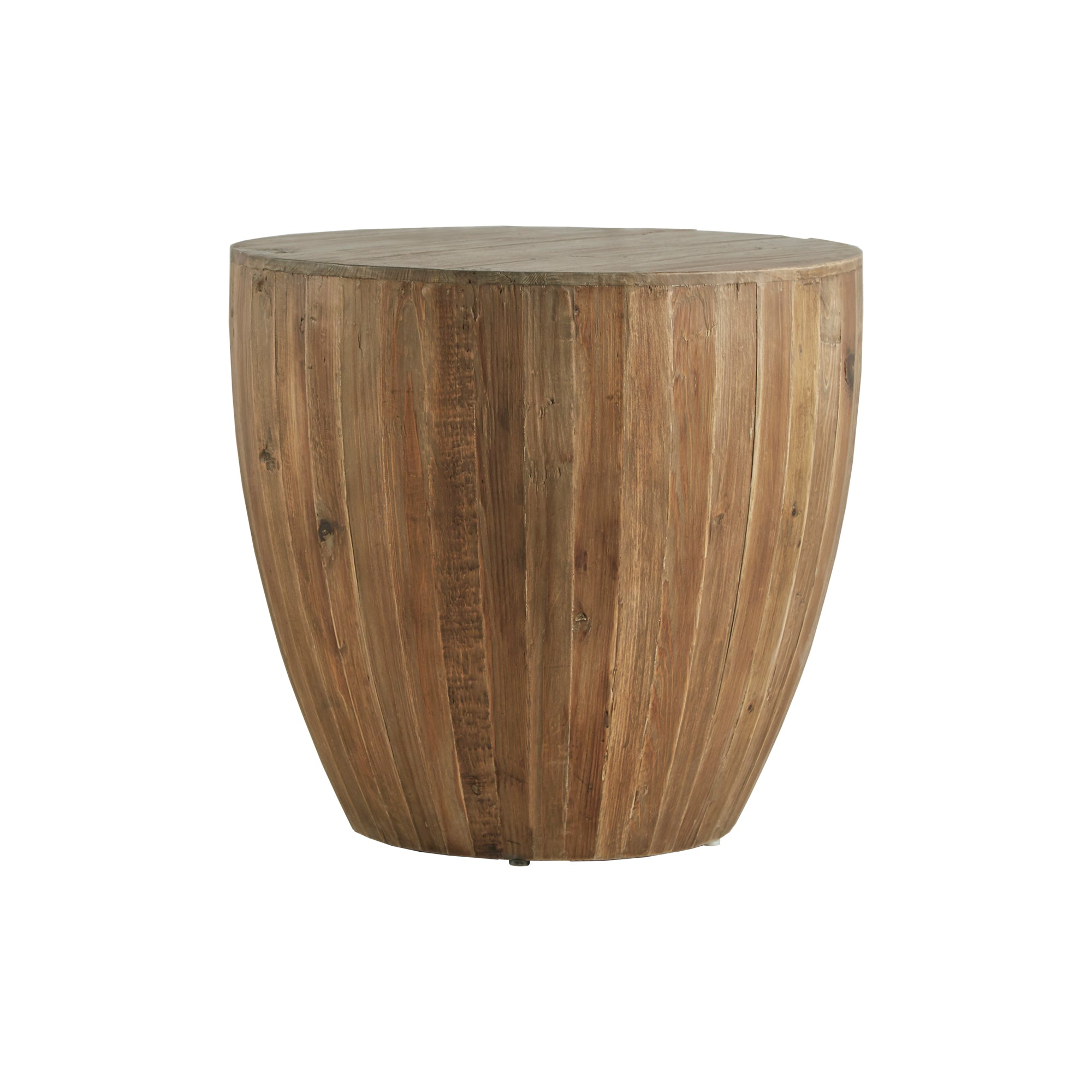 Drum Reclaimed Woodblock Barrel Side Table
