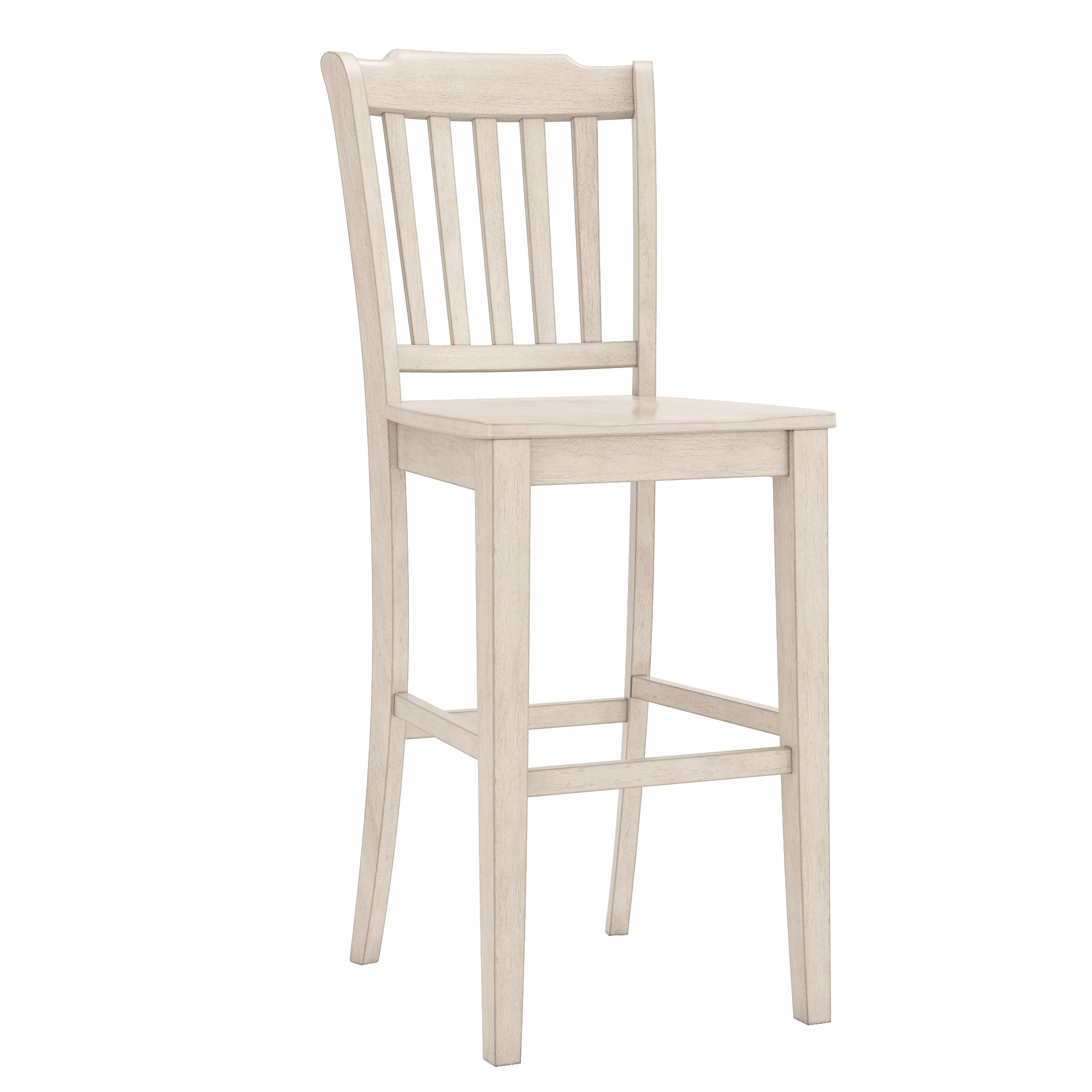 Antique White Finish Slat Back Bar Height Chairs (Set of 2)