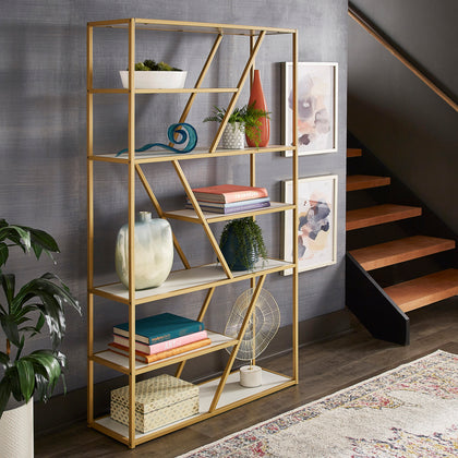 Geometric Gold Finish Powder Coat Metal Bookcase