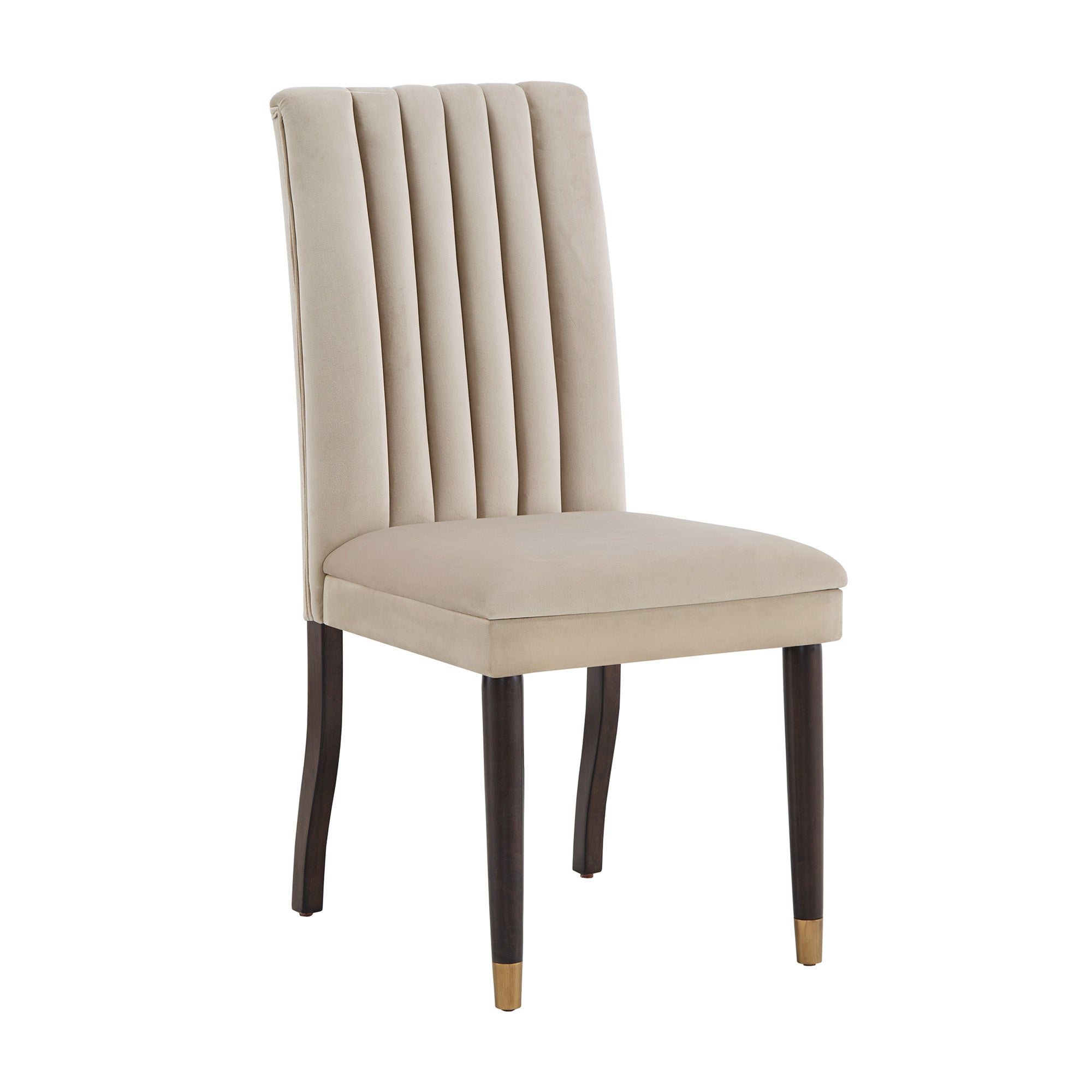 Velvet Channel Back Dining Chairs (Set of 2) - Taupe Velvet