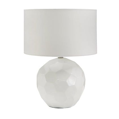 White Modern Drum Shade Table Lamp