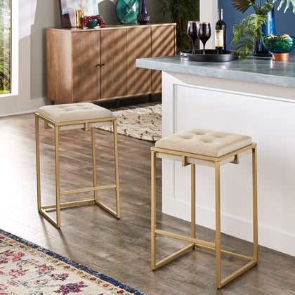Gold Finish Velvet Button Tufted Bar Stools (Set of 2) - Counter Height - Beige