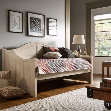Traditional Paneled Wood Daybed - Antique White, No Trundle