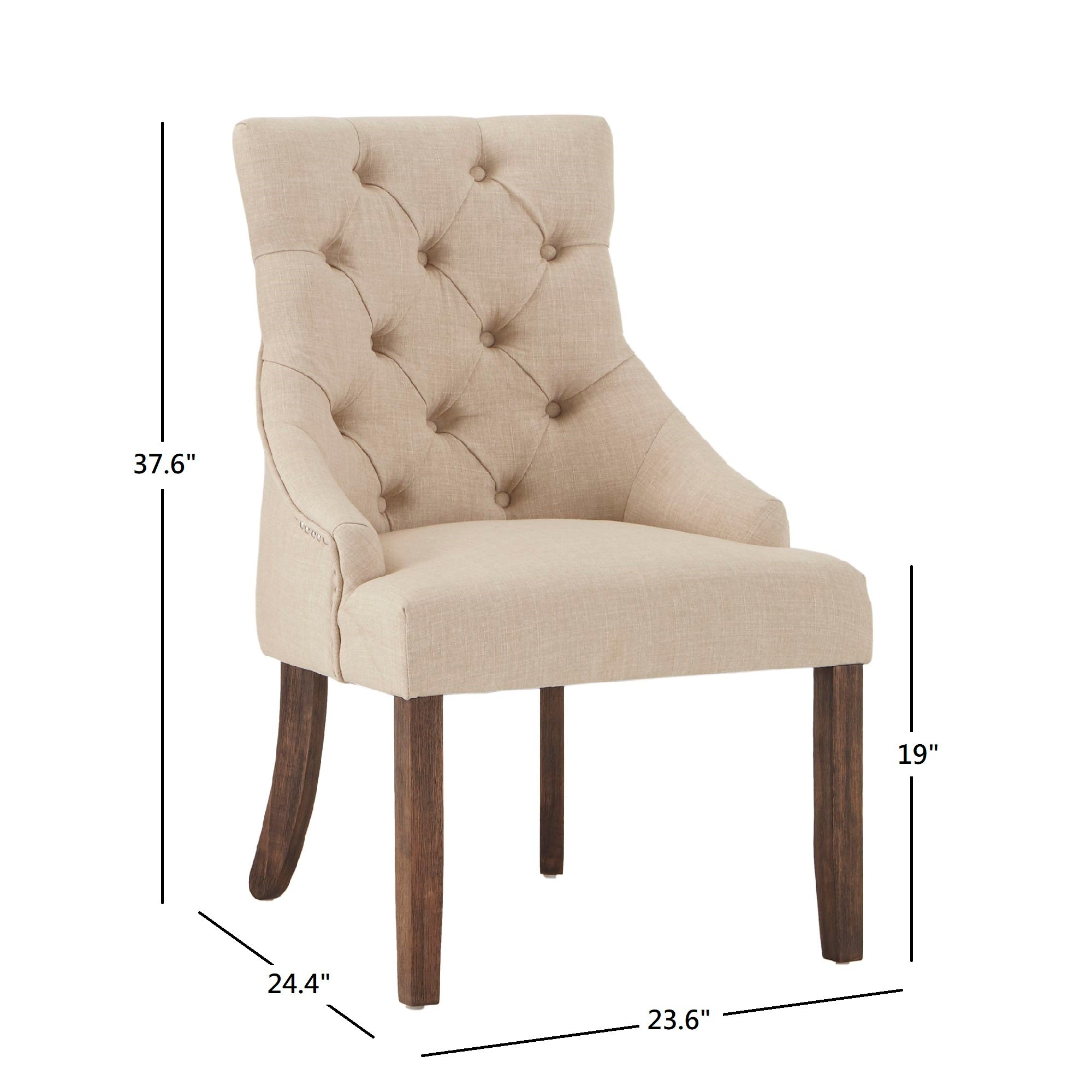 Linen Curved Back Tufted Dining Chair (Set of Two) - Beige Linen