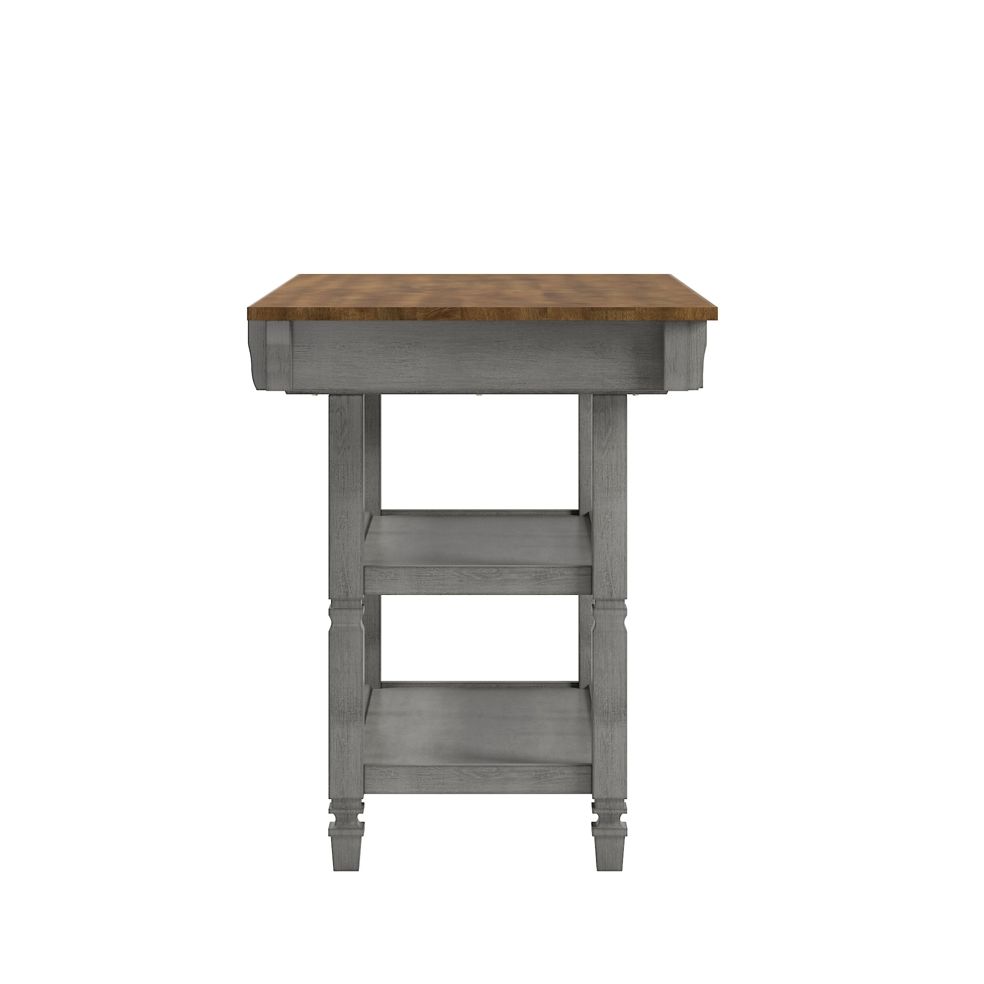Two-Tone Antique Kitchen Island Buffet - Oak Top with Antique Grey Base