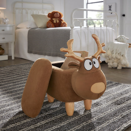 Animal Storage Ottoman - Brown Reindeer