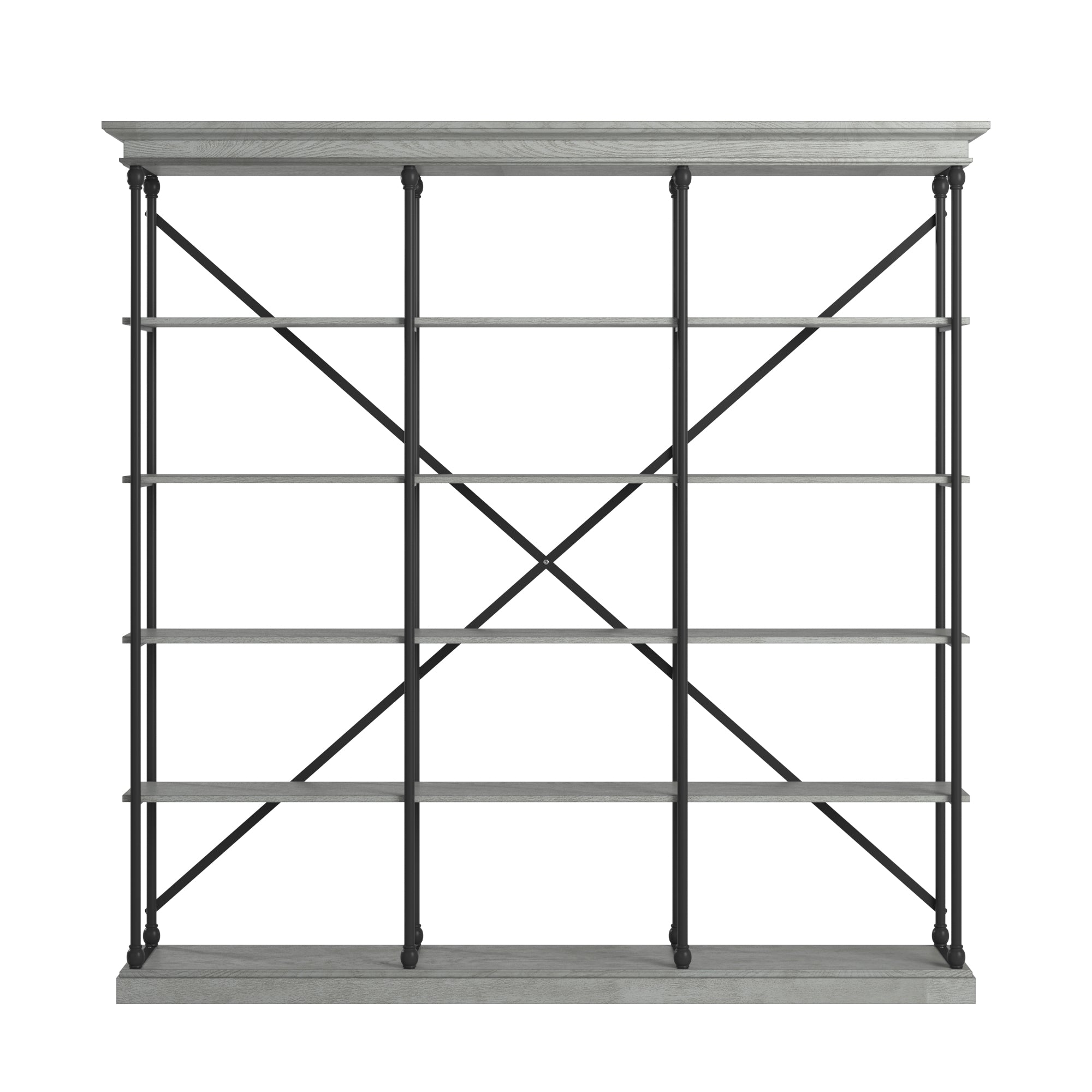 Cornice Triple Shelving Bookcase - Grey