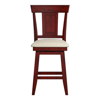 Panel Back Counter Height Wood Swivel Chair - Antique Berry
