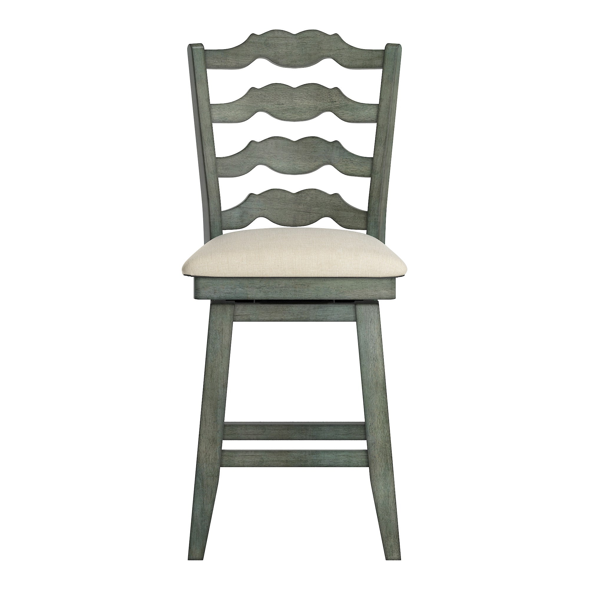 French Ladder Back Counter Height Swivel Chair - Antique Sage